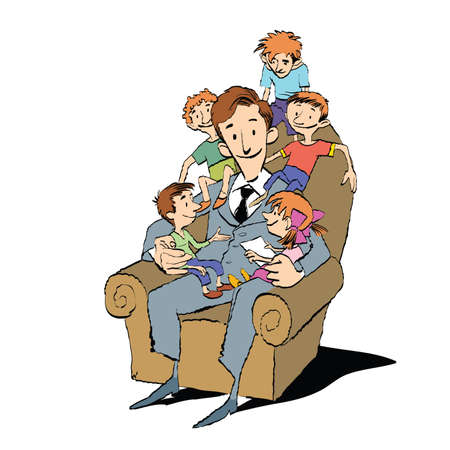 large family: Large family, dad in a chair with children, hand drawn vector illustration. Many children. Color illustration Illustration