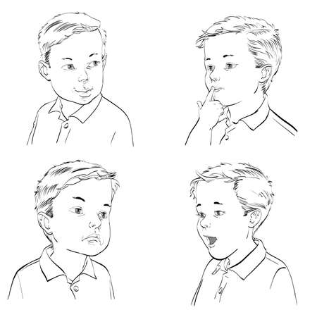 embarrassment: Set boy emotions, hand drawn vector illustration. Black and white image