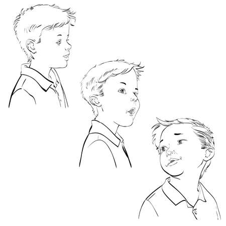 spontaneous: Three emotions of the boy, hand drawn vector illustration. The young man. Black and white image