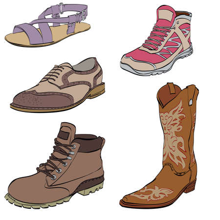 Set of mens shoes, sneakers dress shoes boots and sandals. Collection of casual and athletic shoes