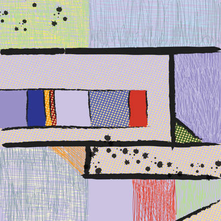art painting: modern art abstract painting. Multicolor pattern digital illustration, freehand drawing Illustration