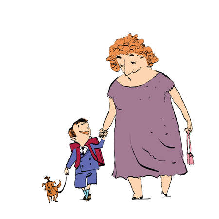 Grandma, grandson and dog on a walk. Color sketch drawing. The nanny and the child
