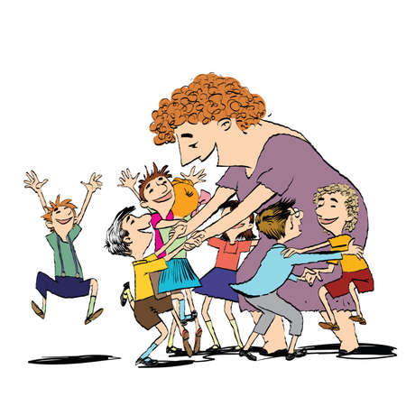 Children and nanny or teacher. Kindergarten, school and education. Big family