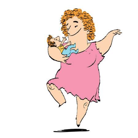baile caricatura: Mujer y niño bailando, ilustración vectorial boceto. Familia. Madre o abuela con un hijo o nieto
