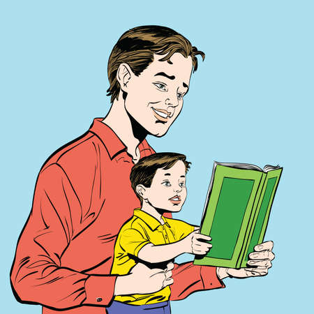 fascinated: father and son reading a book, sketch vector illustration. Literature and education