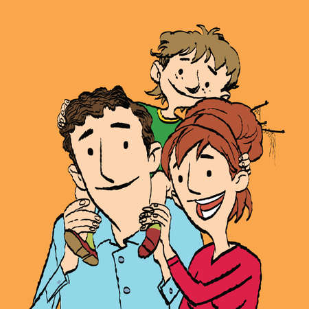 mom and dad: Family mom dad and son. Happy people color illustration