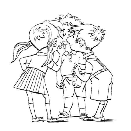 Mystery, a group of children whispering. Two boys and a girl. Black and white illustration