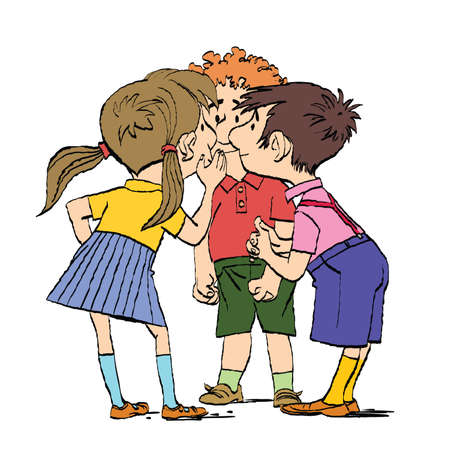 Mystery, a group of children whispering. Two boys and a girl