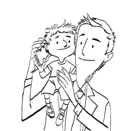Dad and son talking on the smartphone. Modern technology. Phone. Black and white illustration