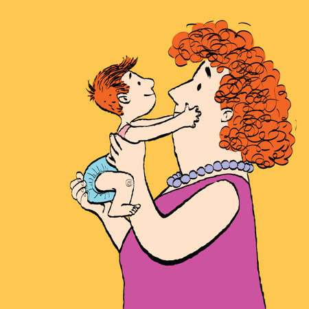 Red family mother and son, color caricature illustration