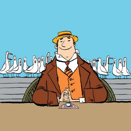 joyful retro man in a restaurant by the sea
