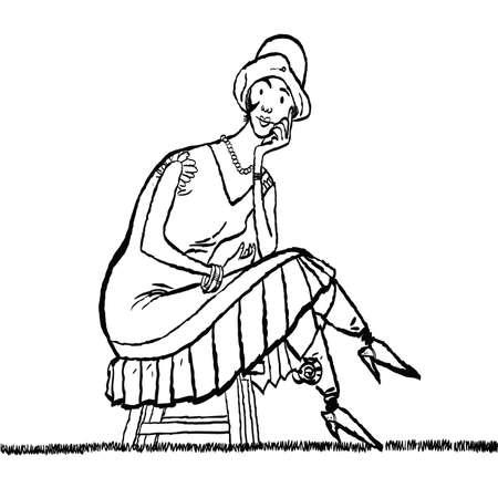 Retro lady sitting Illustration