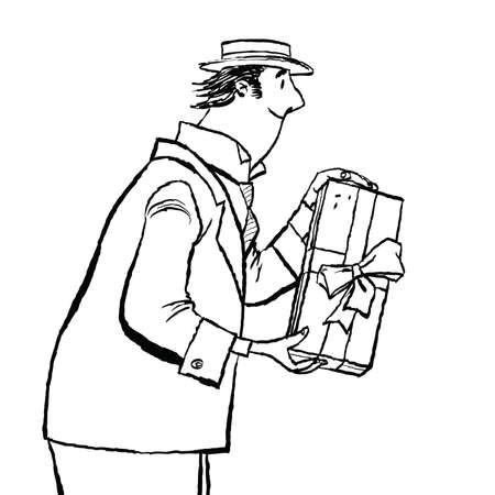 retro man gives a gift