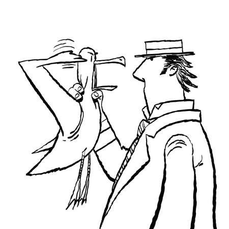 Gentleman and Seagull humor Ilustração