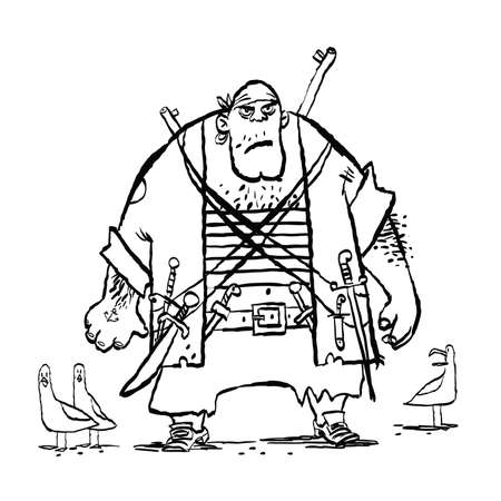 Huge funny pirate and seagulls