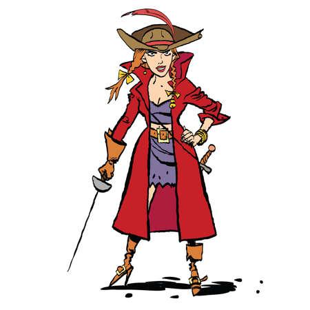 Beautiful young woman pirates