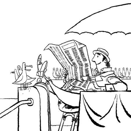 Retro man reading a newspaper by the sea Ilustração