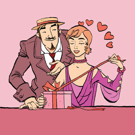 Love and romance. Retro woman opens the gift to a loved one. Vector cartoon illustration of retro style. Ilustração