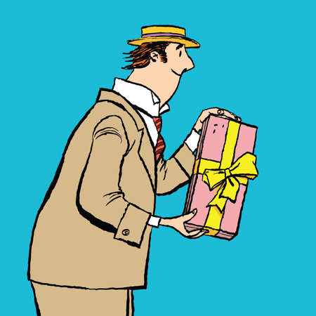 retro man gives a gift, cartoon style vector illustration. Birthday or holiday