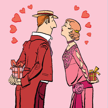 Valentines day, a couple man and woman give gifts. Vector cartoon illustration of retro style.