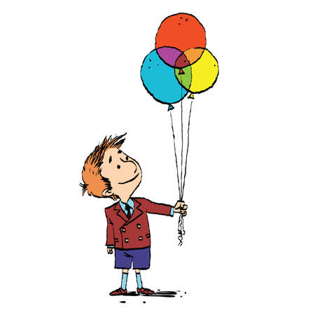 Boy and colorful balloons. Vector cartoon illustration of retro style. Birthday and holidays