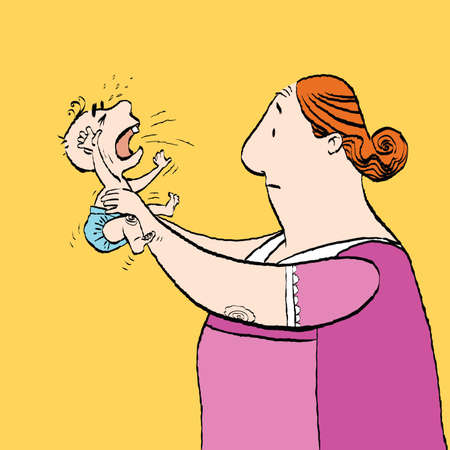 Babysitter and the baby is crying. Vector cartoon illustration of retro style.