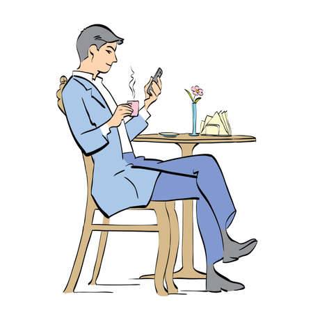 veranda: Man drinking coffee in cafe. Vector cartoon illustration of retro style. businessman reading a smartphone