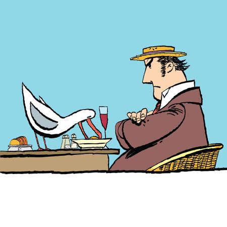 Bird eating food from the plate, cartoon style vector illustration. Street restaurant