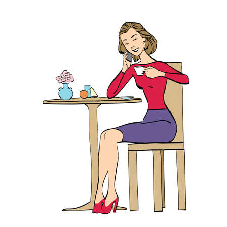 Beautiful woman in cafe drinking coffee. Vector cartoon illustration of retro style.