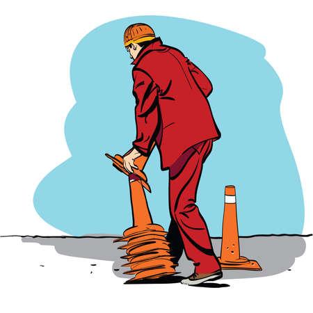 Road worker puts traffic cones. Cartoon hand drawing illustration