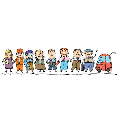 set workers of different professions. Cartoon hand drawing illustration