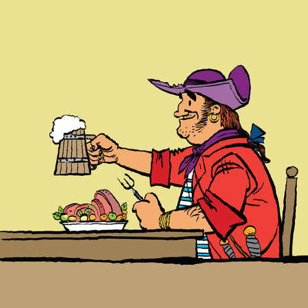 Brave pirate is eating in the tavern