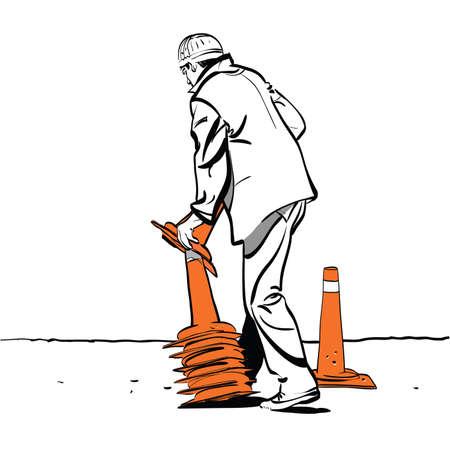 Road worker puts traffic cones Banco de Imagens