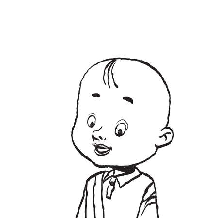 Portrait of a bald boy isolate illustration. Cartoon illustration isolate. Black and white outline