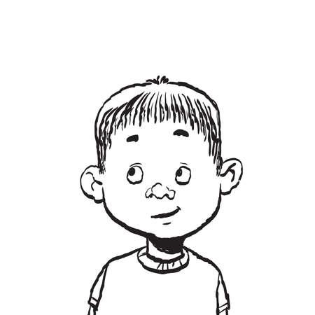 Portrait of a boy isolate illustration. Cartoon color illustration isolate. Black and white outline Ilustração