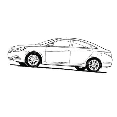 car black and white silhouette. Cartoon illustration isolate. Transport and roads