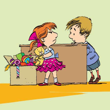 Ragazza avida con giocattolo e ragazzo. Illustrazione a colori disegnati a mano in stile cartone animato caricatura