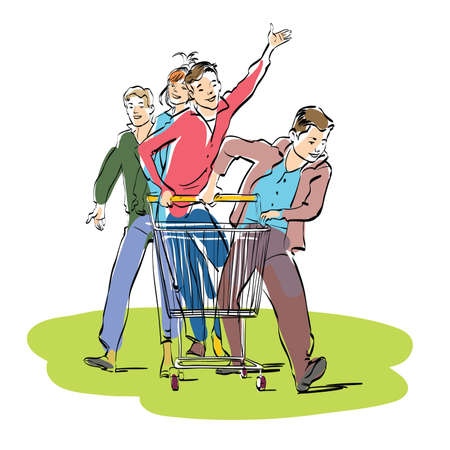 Young people with a grocery cart. Caricature cartoon style hand drawn color illustration