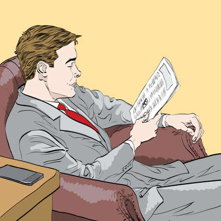 businessman reading a newspaper. Caricature cartoon style hand drawn color illustration