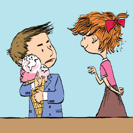 Greedy boy with a big ice cream cone and the girl. Caricature cartoon style hand drawn color illustration