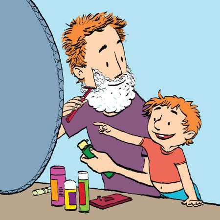 Dad shaves son watches. Caricature cartoon style hand drawn color illustration