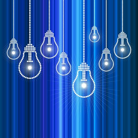 row of light bulbs with glowing Stock Vector - 15429442