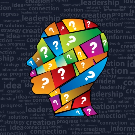 Man s head with many question  Stock Vector - 15429443