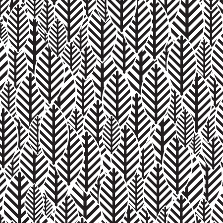 seamless pattern: Seamless BW leaf pattern Illustration