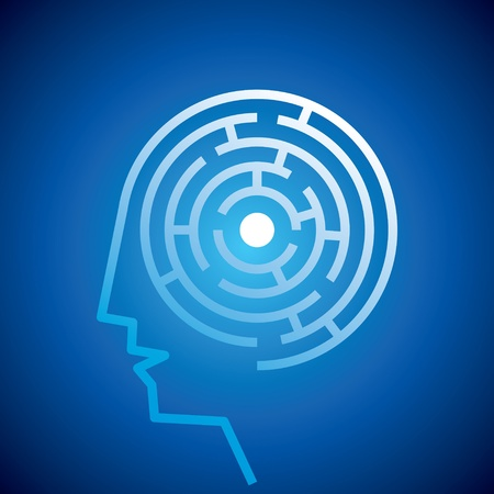 Confused Mind The labyrinth inside the head   Vector