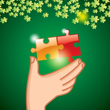 Hands and puzzle  Business concept Stock Vector - 15586494