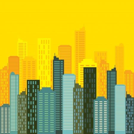 촉각 근: 도시의 스카이 라인 건물 벡터 일러스트