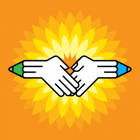 shake hands with pencil Stock Vector - 15583146