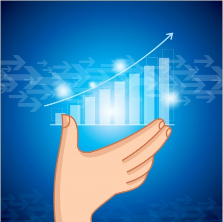business graph on a glass window  Stock Vector - 15582153