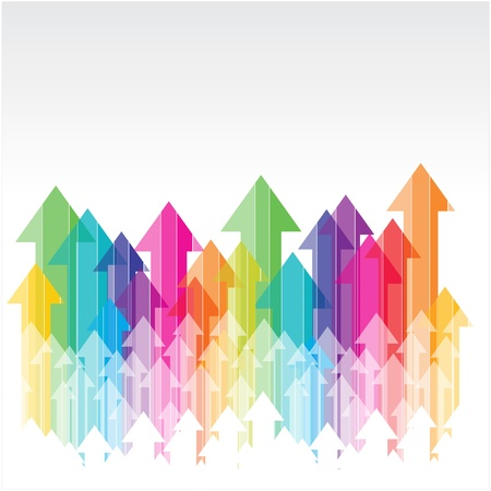 moving up colorful transparent arrows on white backgroun
